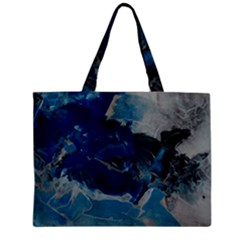 Blue Abstract No. 6 Zipper Tiny Tote Bags