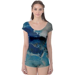 Blue Abstract No. 6 Short Sleeve Leotard