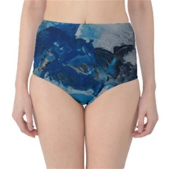 Blue Abstract No. 6 High-Waist Bikini Bottoms