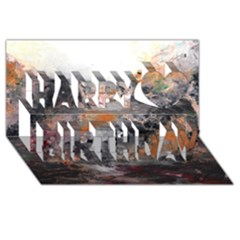 Natural Abstract Landscape Happy Birthday 3D Greeting Card (8x4)