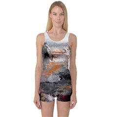 Natural Abstract Landscape Women s Boyleg One Piece Swimsuits
