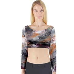 Natural Abstract Landscape Long Sleeve Crop Top