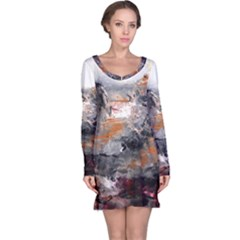 Natural Abstract Landscape Long Sleeve Nightdresses
