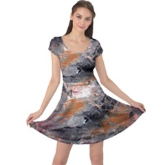 Natural Abstract Landscape Cap Sleeve Dresses