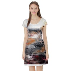 Natural Abstract Landscape Short Sleeve Skater Dresses