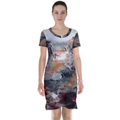 Natural Abstract Landscape Short Sleeve Nightdresses