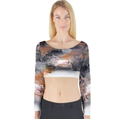 Natural Abstract Landscape No. 2 Long Sleeve Crop Top