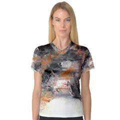Natural Abstract Landscape No. 2 Women s V-Neck Sport Mesh Tee
