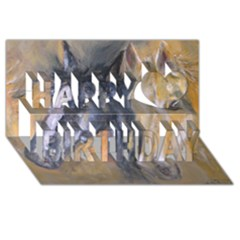 2 Horses Happy Birthday 3d Greeting Card (8x4)