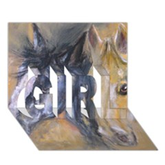 2 Horses GIRL 3D Greeting Card (7x5)
