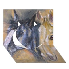 2 Horses Heart 3D Greeting Card (7x5)