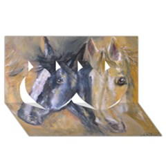 2 Horses Twin Hearts 3D Greeting Card (8x4)