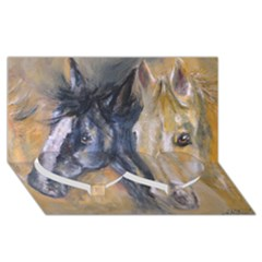 2 Horses Twin Heart Bottom 3D Greeting Card (8x4)