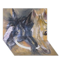 2 Horses Circle Bottom 3d Greeting Card (7x5)