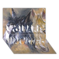 2 Horses YOU ARE INVITED 3D Greeting Card (7x5)