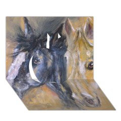 2 Horses Apple 3d Greeting Card (7x5)
