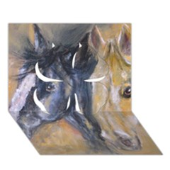 2 Horses Clover 3d Greeting Card (7x5)