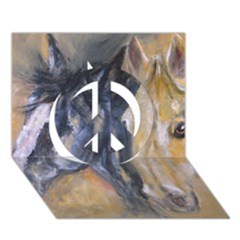 2 Horses Peace Sign 3D Greeting Card (7x5)