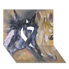 2 Horses Ribbon 3D Greeting Card (7x5)