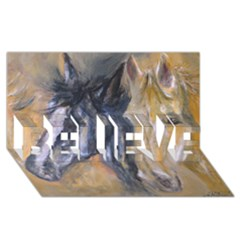 2 Horses BELIEVE 3D Greeting Card (8x4)