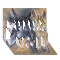 2 Horses THANK YOU 3D Greeting Card (7x5)