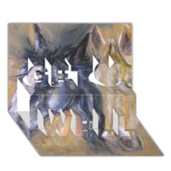 2 Horses Get Well 3d Greeting Card (7x5)