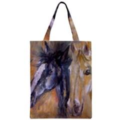 2 Horses Zipper Classic Tote Bags