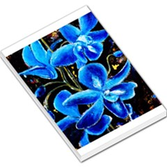 Bright Blue Abstract Flowers Large Memo Pads