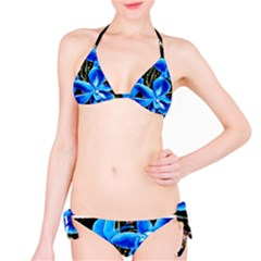 Bright Blue Abstract Flowers Bikini Set