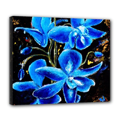 Bright Blue Abstract Flowers Deluxe Canvas 24  X 20