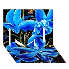 Bright Blue Abstract Flowers I Love You 3D Greeting Card (7x5)