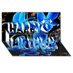 Bright Blue Abstract Flowers Happy Birthday 3D Greeting Card (8x4)