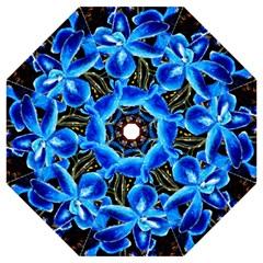 Bright Blue Abstract Flowers Hook Handle Umbrellas (Medium)