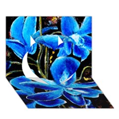 Bright Blue Abstract Flowers Heart 3D Greeting Card (7x5)