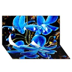 Bright Blue Abstract Flowers Twin Hearts 3D Greeting Card (8x4)