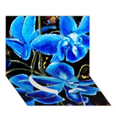 Bright Blue Abstract Flowers Circle Bottom 3d Greeting Card (7x5)