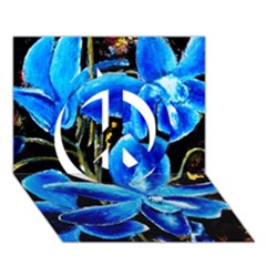Bright Blue Abstract Flowers Peace Sign 3D Greeting Card (7x5)