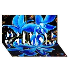 Bright Blue Abstract Flowers #1 Mom 3d Greeting Cards (8x4)