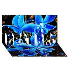 Bright Blue Abstract Flowers Best Bro 3d Greeting Card (8x4)