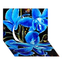 Bright Blue Abstract Flowers Circle 3d Greeting Card (7x5)