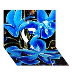 Bright Blue Abstract Flowers Ribbon 3d Greeting Card (7x5)