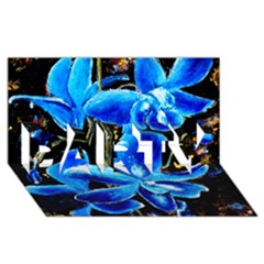 Bright Blue Abstract Flowers PARTY 3D Greeting Card (8x4)