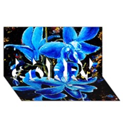 Bright Blue Abstract Flowers Sorry 3d Greeting Card (8x4)