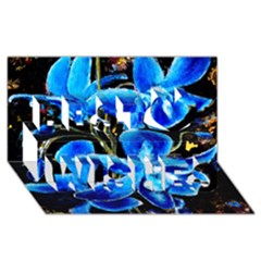 Bright Blue Abstract Flowers Best Wish 3D Greeting Card (8x4)