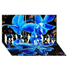 Bright Blue Abstract Flowers ENGAGED 3D Greeting Card (8x4)