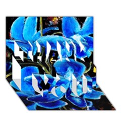 Bright Blue Abstract Flowers THANK YOU 3D Greeting Card (7x5)