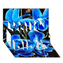 Bright Blue Abstract Flowers You Did It 3D Greeting Card (7x5)
