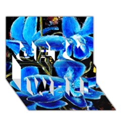 Bright Blue Abstract Flowers Get Well 3d Greeting Card (7x5)