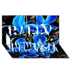 Bright Blue Abstract Flowers Happy New Year 3d Greeting Card (8x4)