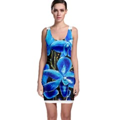 Bright Blue Abstract Flowers Bodycon Dresses